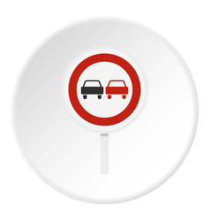 No overtaking road traffic sign icon circle vector