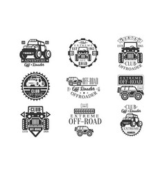 quad bike rental club set of emblems with black vector image