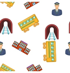 Railroad elements pattern cartoon style vector