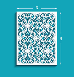 Rectangle panel with cutout lace pattern vector
