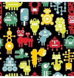 Robot and monsters cute seamless texture vector image vector image