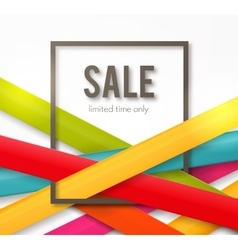 Sale background with frame and colorful ribbons vector image