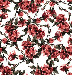 seamless floral pattern with pink roses watercolor vector image vector image