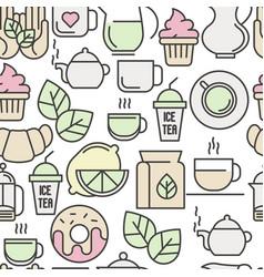 seamless pattern of tea tea ceremony vector image vector image