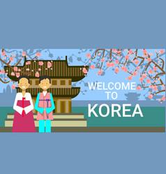 Travel to south korea poster korean coupe wear vector