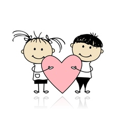 Valentine day Children with big red heart for your vector image vector image
