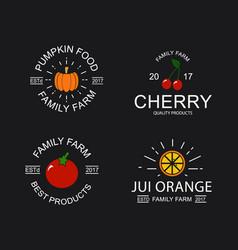 vintage cherry pumpkin tomato and orange logo vector image