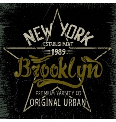 Vintage label with Brooklyn City design vector image vector image