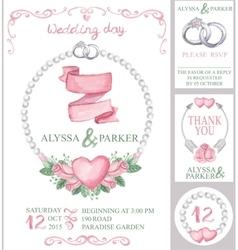 Watercolor wedding invitation setPink roses vector image vector image