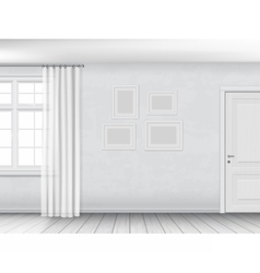 White interior with window and door vector