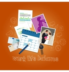 Work life balance concept of balancing people time vector