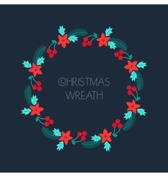 Christmas wreath with rowanberryfir branches vector