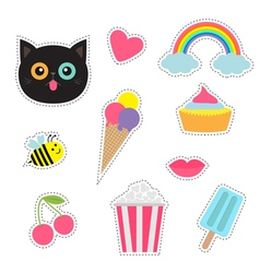 Quirky cartoon sticker patch badges set fashion vector