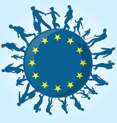 Immigration people on european symbol vector
