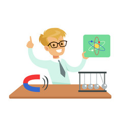boy physicist and physics symbols kid doing vector image
