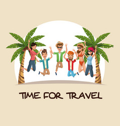time for travel group people jumping happy palm vector image