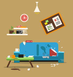 Sofa in dirty organized apartment different vector