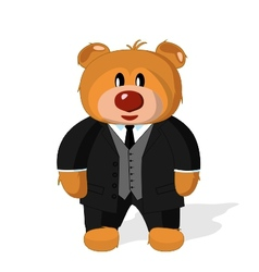 Bear toy in coat vest and trousers on a white ba vector