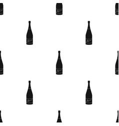 Bottle of champagne icon in black style isolated vector
