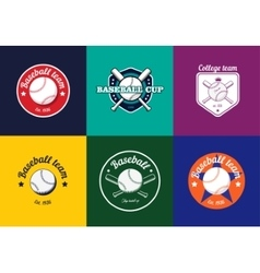 Set of vintage color baseball championship logos vector