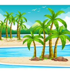 Beach view at daytime vector