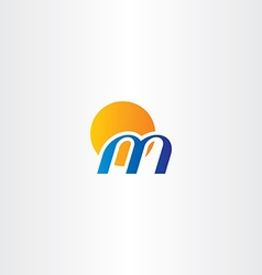 Letter m and sun logo logotype icon vector