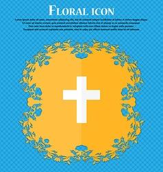 Religious cross christian icon floral flat design vector