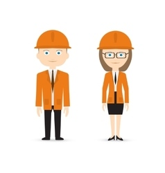 Male and female constructor in orange suits vector