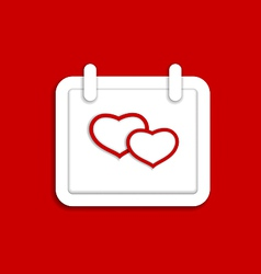 Calendar icon for Valentines day with hearts vector image