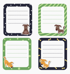 Cute cards or stickers with dog cute cards or vector