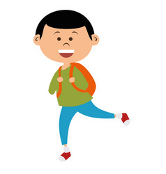 cute little boy with bag school vector image
