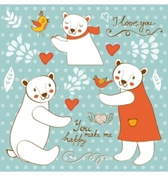 Cute polar bears colorful set with handwritten vector