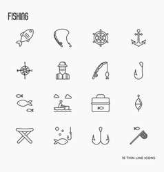 Fishing related thin line icons fisherman hooks vector