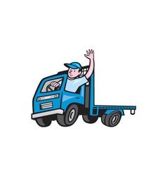 Flatbed truck driver waving cartoon vector