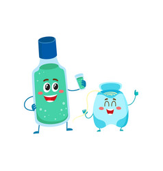 funny dental floss and mouthwash mouth rinse vector image vector image