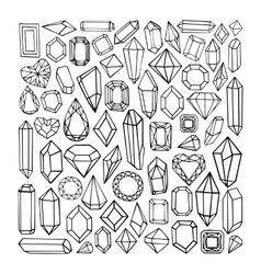 Hand drawn modern set of crystals vector image