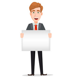 Handsome businessman in suit holding big blank vector