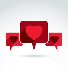 Heart over the speech bubbles icon conceptual vector image