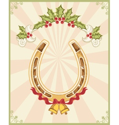 Horseshoe on christmas background with holly berry vector image vector image