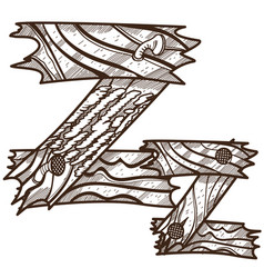 letter z from wooden planks alphabet picture for vector image