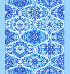 mandala tile pattern ogee blue background vector image vector image