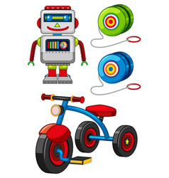 Many toys on white background vector