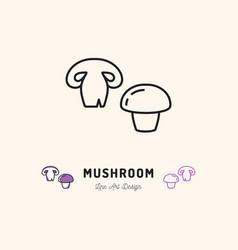 mushroom icon champignon vegetables logo thin vector image vector image