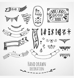 Ribbons border and frames collection cute hand vector