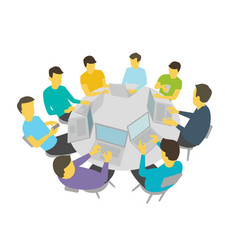 round-table talks group of people students team vector image vector image