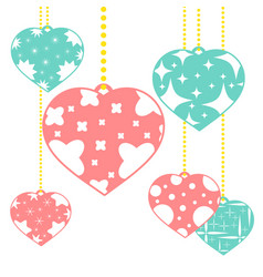set of colored isolated pendants in the shape of vector image vector image