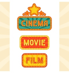 Set of glowing retro cinema neon signs vector image