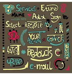 Set of hand draw lettering web design element vector image vector image