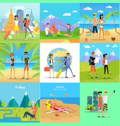 Set of people on vacation flat concepts vector