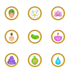 Spa equipment icons set cartoon style vector